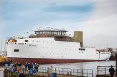 """Botadura del """"Belgica"""" en Freire Shipyard."""