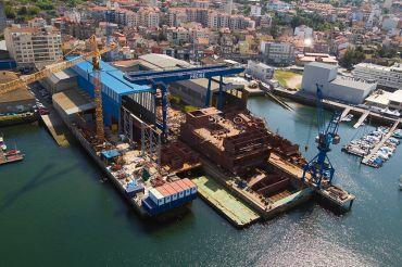Factoría naval del estillero Freire en Vigo.