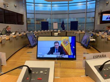Luis Planas en la reunión de ministros de Pesca por videoconferencia.